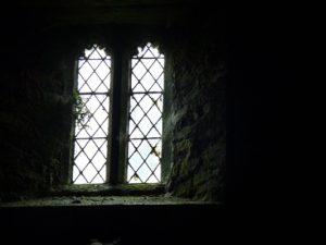 Moss and fern around the chapel windows