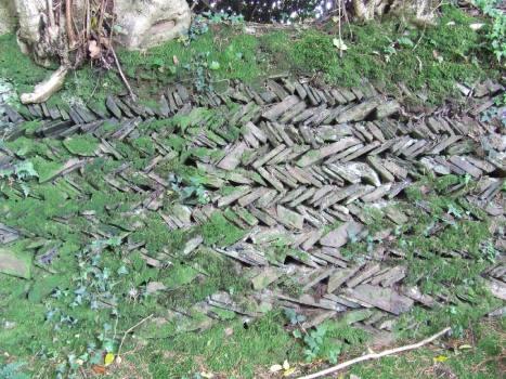 Cornish hedge wall, herringbone style